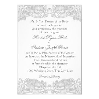 Victorian Floral Silver Gray Lace Card