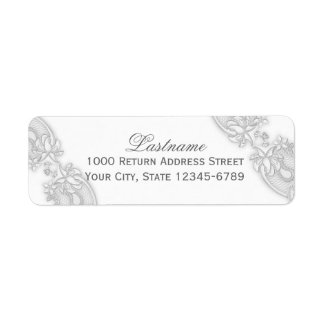 Victorian Floral Silver Gray Lace Return Address Label
