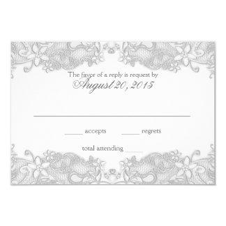 Victorian Floral Silver Gray Response Card