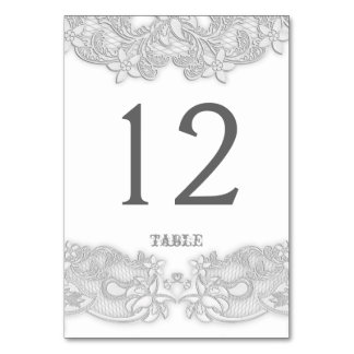 Victorian Floral Silver Gray Table Card