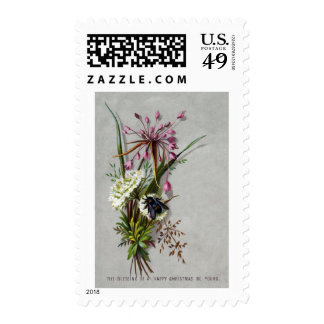 Victorian Floral Spray with Bee and Allium Stamp