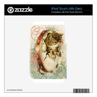 Victorian Floral Tambourine Music Cat iPod Touch 4G Skins