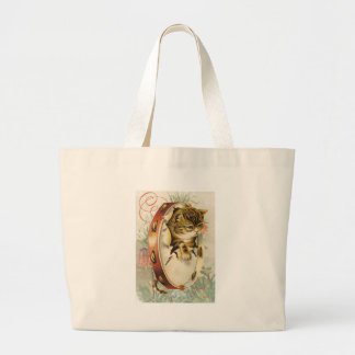 Victorian Floral Tambourine Music Cat Large Tote Bag