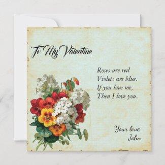 Victorian Floral Valentine's Day Scrapbook Journal Card