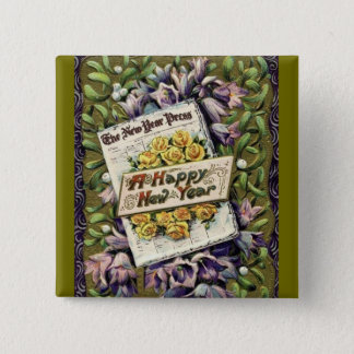 Victorian Floral Vintage Happy New Year Pin Button
