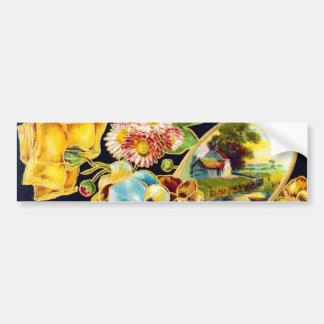 Victorian Floral with Landscape Scenic Bumper Sticker