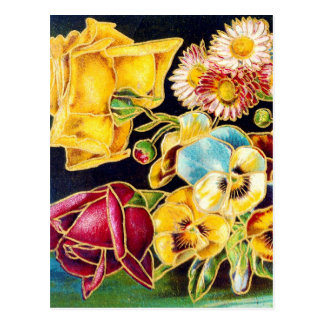 Victorian Floral with Landscape Scenic Postcard
