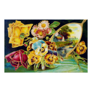 Victorian Floral with Landscape Scenic Poster
