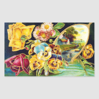 Victorian Floral with Landscape Scenic Rectangular Sticker