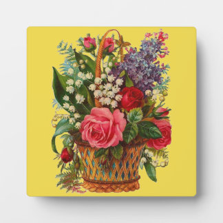 Victorian Flower Basket Decorative Plaque