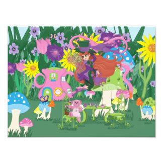 Victorian Flower Fairy and Angel Bear Tea Party Photo Print