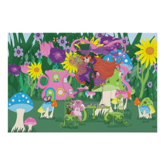 Victorian Flower Fairy and Angel Bear Tea Party Poster