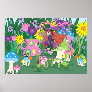 Victorian Flower Fairy and Angel Bear Tea Party Print