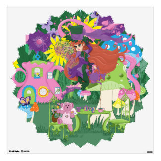 Victorian Flower Fairy and Angel Bear Tea Party Wall Sticker