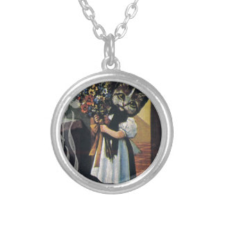 Victorian Flower Girl Cat Holding Flowers Round Pendant Necklace