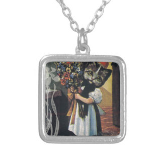 Victorian Flower Girl Cat Holding Flowers Square Pendant Necklace