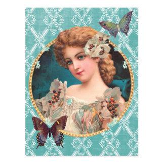 Victorian Flower Girl Postcard