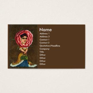 Victorian Flower Lady With Leaf Handbag Business Card