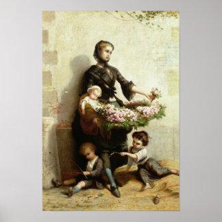 Victorian Flower Seller Poster