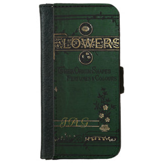 Victorian 'Flowers' Old Book Cover Monogram iPhone 6 Wallet Case