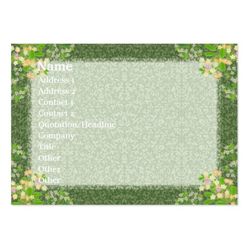 Victorian Flowers Profile Card Large Business Cards (Pack Of 100)