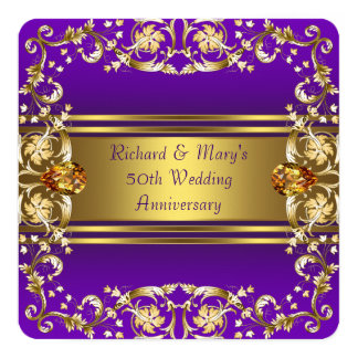 Victorian Flowers Purple and Gold 50th Anniversary Card