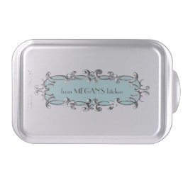 Victorian Frame Aqua Personalized Cake Pan
