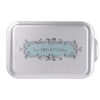 Victorian Frame Aqua Personalized Cake Pan