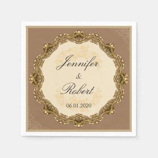 Victorian Frame in Gold Wedding Napkin