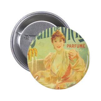 Victorian French bathtub advertisement woman Button