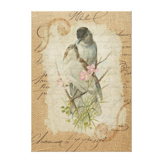 Victorian French Love Birds Love Song Canvas Print