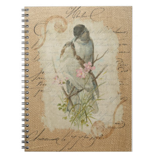 Victorian French Love Birds Love Song Memories Spiral Note Book