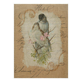 Victorian French Love Birds Love Song Poster