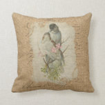 Victorian French Love Birds Love Song Throw Pillow