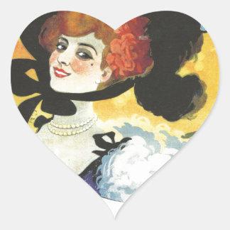 Victorian French woman cabaret advertisement Paris Heart Sticker
