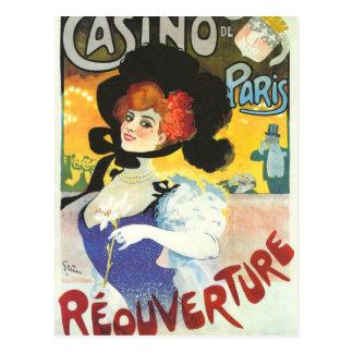 Victorian French woman cabaret advertisement Paris Postcard