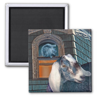 Victorian Friends Cute Goat and Squirrel Fantasy 2 Inch Square Magnet