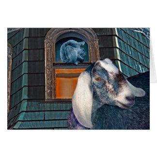 Victorian Friends Cute Goat and Squirrel Fantasy Card