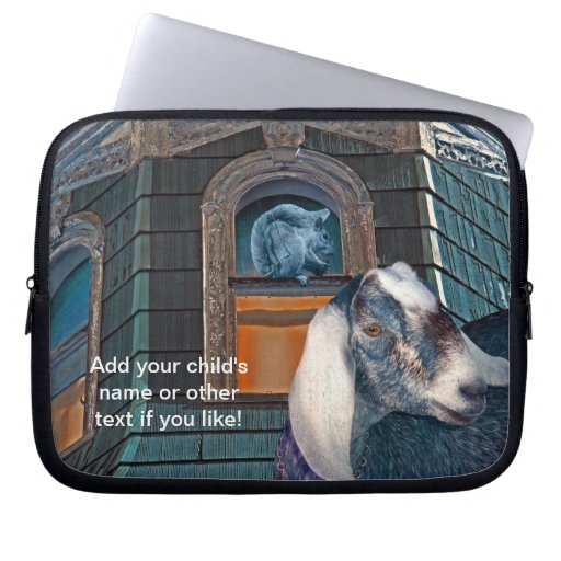 Victorian Friends Cute Goat and Squirrel Fantasy Computer Sleeve