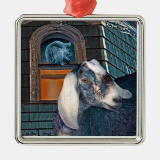 Victorian Friends Cute Goat and Squirrel Fantasy Metal Ornament