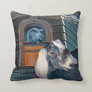 Victorian Friends Cute Goat and Squirrel Fantasy Pillow