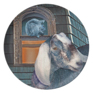 Victorian Friends Cute Goat and Squirrel Fantasy Party Plate