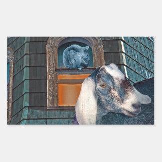 Victorian Friends Cute Goat and Squirrel Fantasy Rectangular Sticker