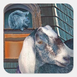 Victorian Friends Cute Goat and Squirrel Fantasy Square Sticker
