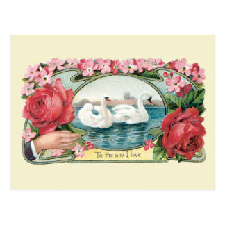 Victorian Friendship Roses and Swans Postcard