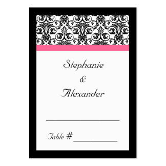 Victorian Fuchsia Pink and White Damask Business Cards