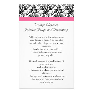 """Victorian Fuchsia Pink and White Damask 5.5"""" X 8.5"""" Flyer"""