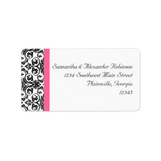 Victorian Fuchsia Pink and White Damask Label