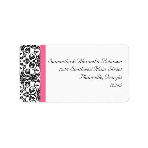 Victorian Fuchsia Pink and White Damask Personalized Address Labels