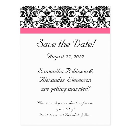 Victorian Fuchsia Pink White Damask Save the Date Postcard